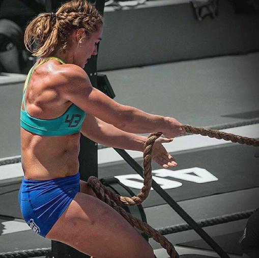 Brooke-Wells-crossfit-athlete-rope-sled-pulls